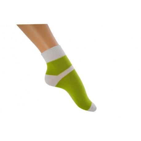 Zkrácená ponožka duo zelenobílá