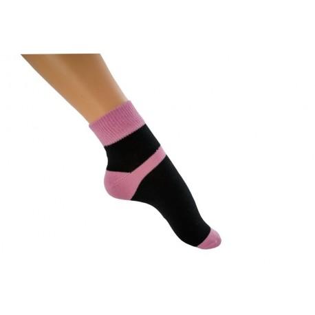 Zkrácená ponožka duo černorůžová