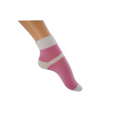 Zkrácená ponožka duo ružovobílá